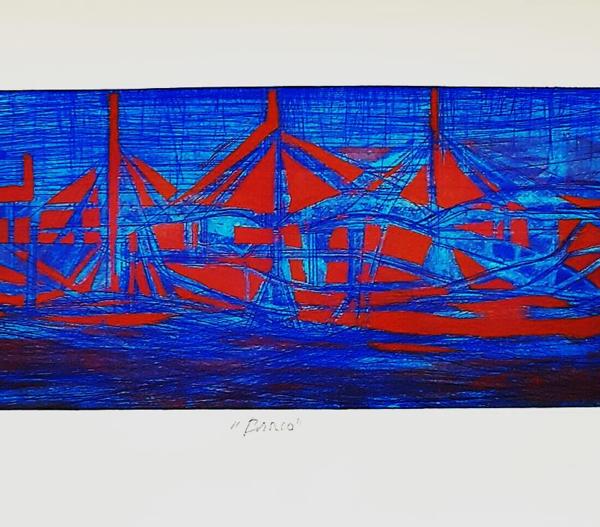 Barco Azul con Rojo cobrizo - Capital del Arte - Artista: Gabriel Macotela - Obras de excelente gusto conjugando diversos estilos, formas, corrientes.