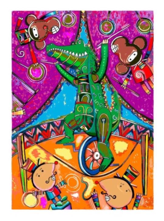 Cocodrilo cirquero - Capital del Arte - Artista: Eduardo Andriacci - Obras de excelente gusto conjugando diversos estilos, formas, corrientes.
