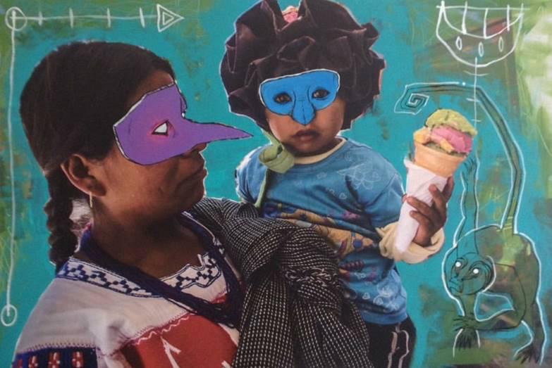 Indígena con niño en brazos - Capital del Arte - Artista: Chu Huiini - Obras de excelente gusto conjugando diversos estilos, formas, corrientes.