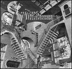 Relatividad, M.C. Escher, 1953